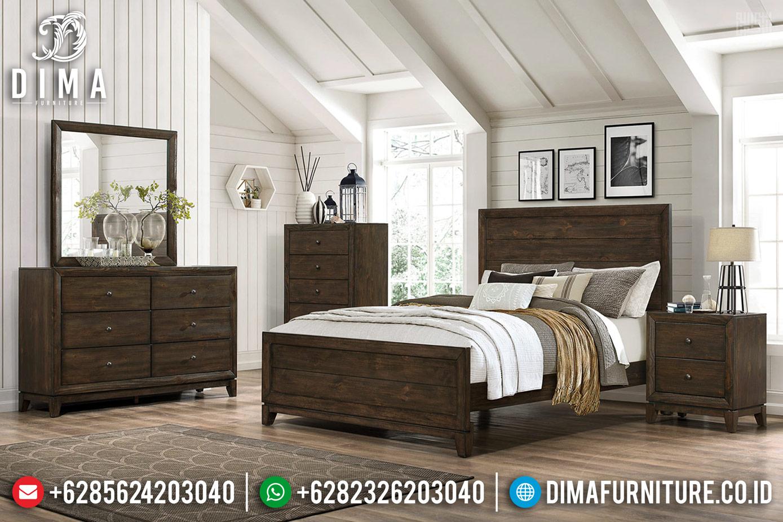 Desain Interior Klasik Tempat Tidur Minimalis Kayu Jati Natural Auburn Color TTJ-0687