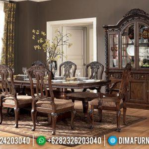 Desain Meja Makan Minimalis Jati Furniture Jepara Ukiran Luxury Klasik TTJ-0697