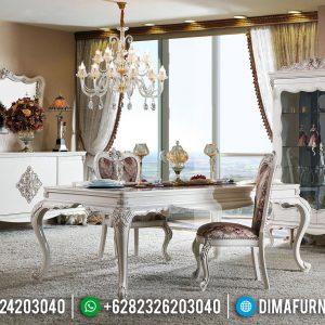 Harga Meja Makan Mewah Luxury Type New White Duco Glossy Classic Design TTJ-0739