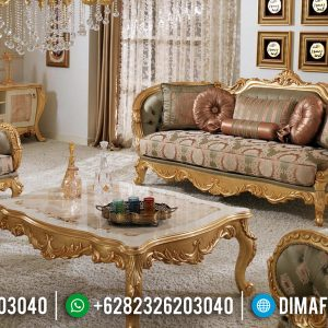Harga Sofa Tamu Mewah Ukiran Luxury Golden Shine Color Furniture Jepara TTJ-0755