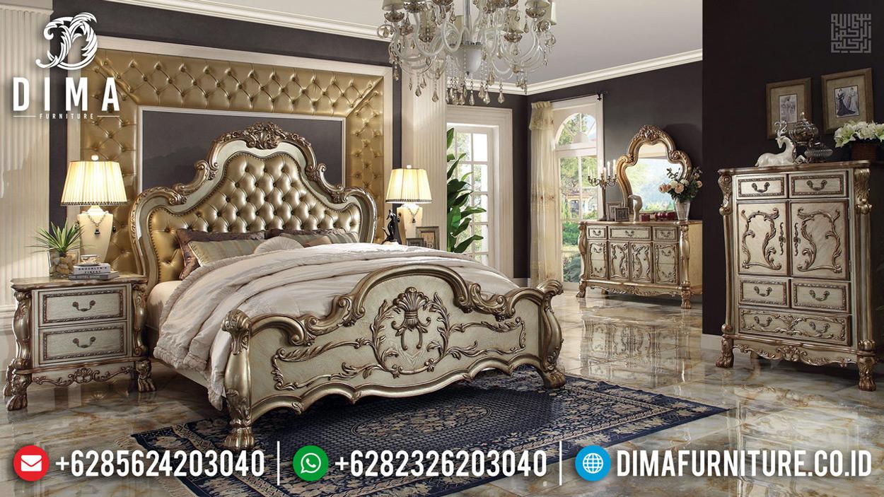 Harga Tempat Tidur Mewah Jepara Luxury Carving New Desain Royals Golden Gloss TTJ-0683