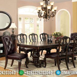 Jual Meja Makan Jati Natural Klasik Ukiran Khas Furniture Jepara TTJ-0741