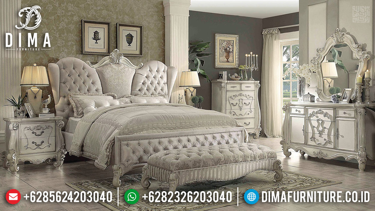 Luxurious Kamar Set Ukiran Jepara New Desain White Duco Color Combination TTJ-0684
