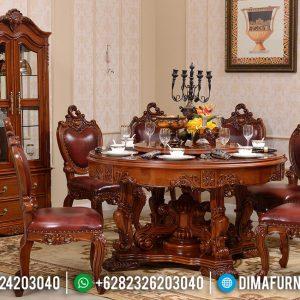 Meja Makan Jati Klasik Red Natural Kayu Perhutani Ukiran Luxury TTJ-0700