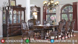Meja Makan Klasik Luxury Desain Elegant New Natural Jati Perhutani TTJ-0693