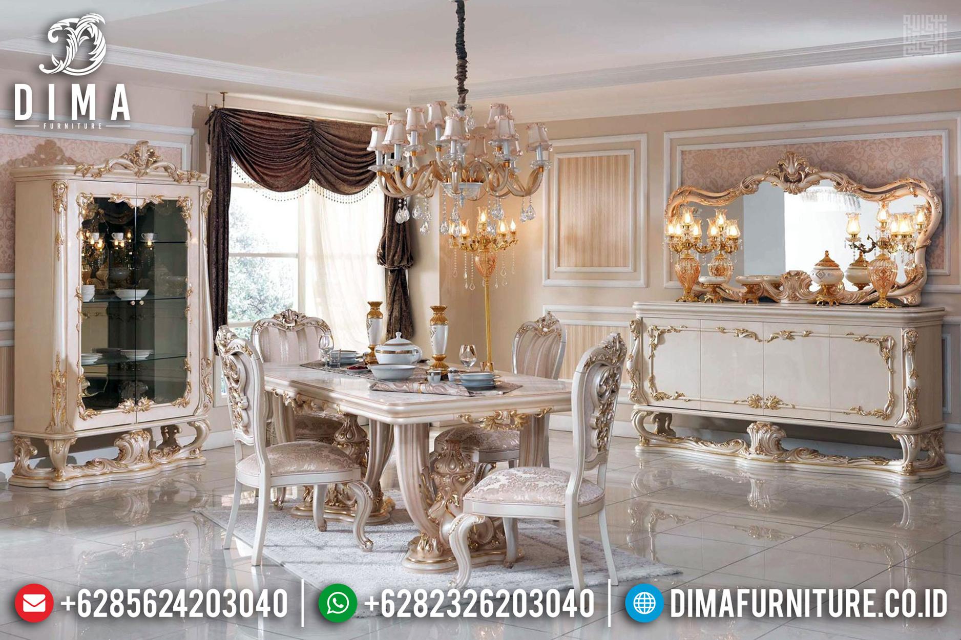 Meja Makan Mewah 6 Kursi Ukiran Luxury Carving New Furniture Jepara TTJ-0738