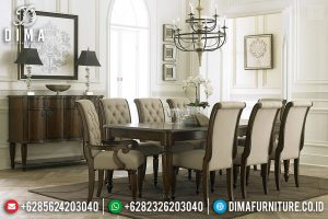 Model Meja Makan Jepara Natural Jati Solid Wood New Classic Elegant Design TTJ-0742