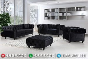 Model Sofa Tamu Chesterfield Modern Minimalis Kayu Jati Perhutani New TTJ-0725