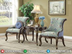 New Coffee Table Luxury Classic, Sofa Santai Mewah Jati Natural Kombinasi TTJ-0735