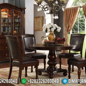 New Design Meja Makan Jati 4 Kursi Natural Klasik Furniture Jepara TTJ-0747