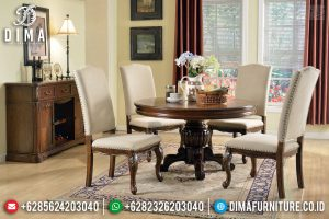 New Meja Makan Natural Jati Auburn Classic Elegant Furniture Jepara TTJ-0752