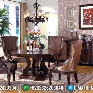 New Model Meja Makan Jepara Classic Natural Design Interior Inspiration TTJ-0751