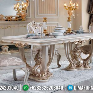 New Model Meja Makan Ukiran Mewah Klasik Superior Luxury White Duco TTJ-0740