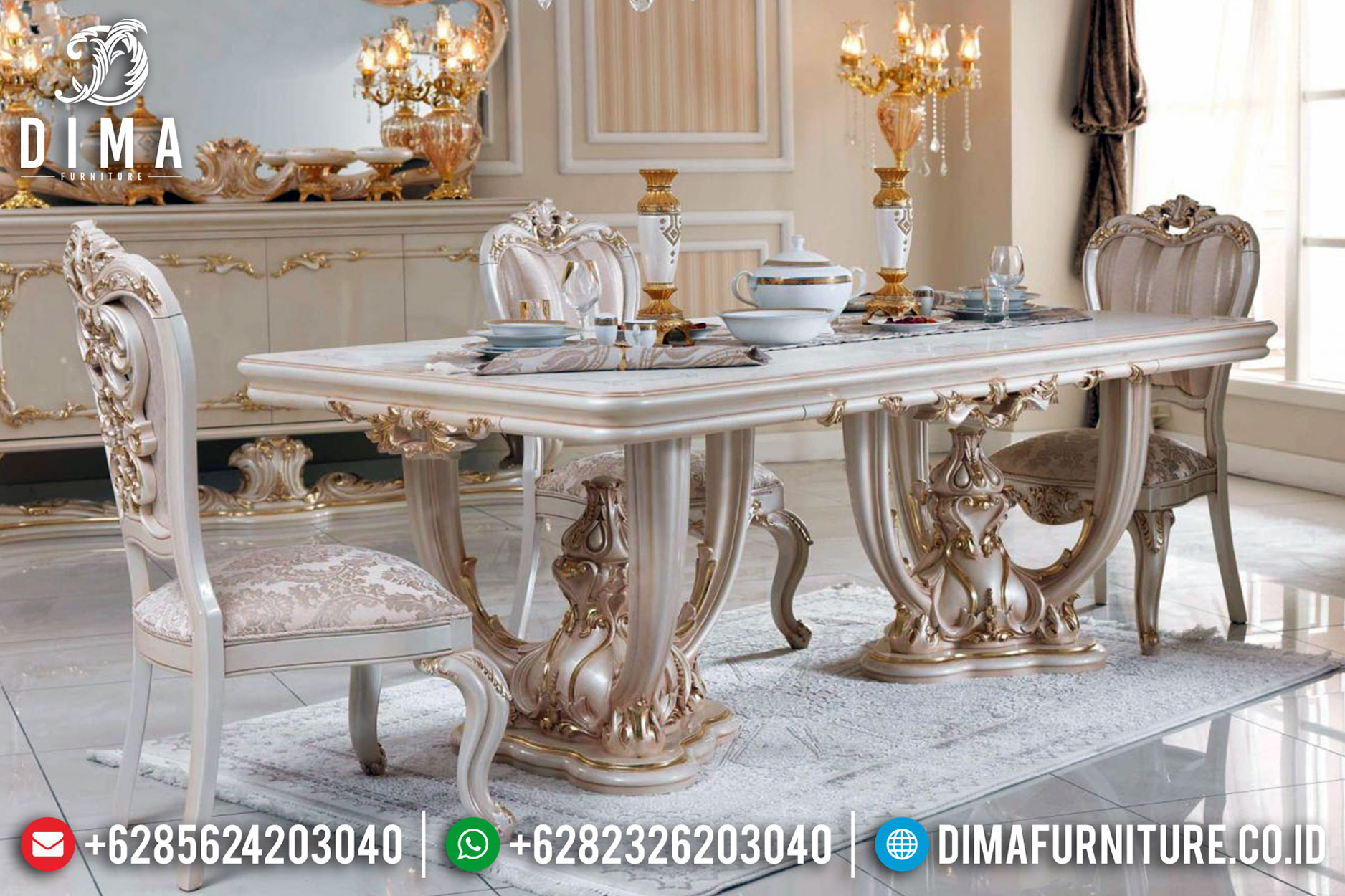 New Model Meja Makan Ukiran Mewah Klasik Superior Luxury White Duco TTJ-0740