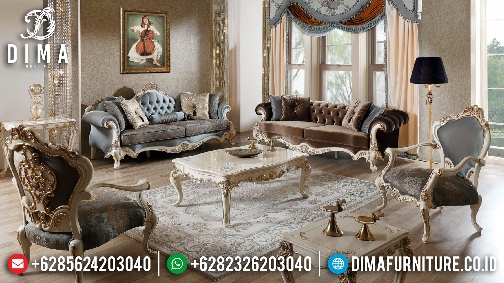 New Models Sofa Tamu Mewah Luxury Carving Best Quality Solid Wood TTJ-0706