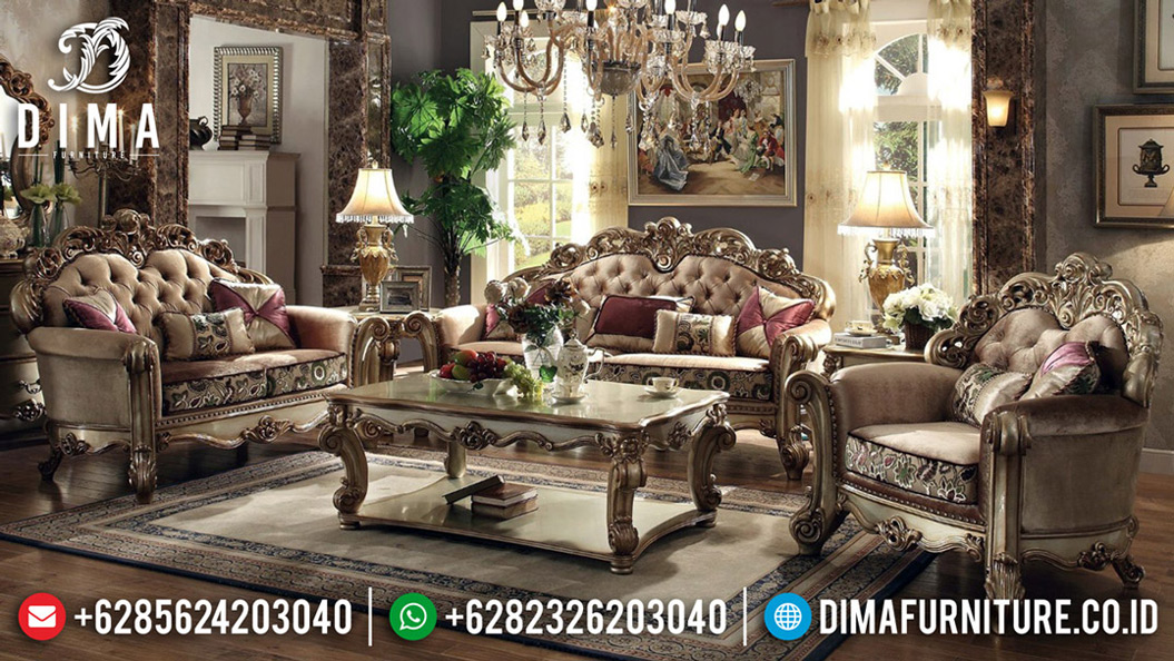 New Set Sofa Tamu Mewah Jepara Luxury Carving Classic Furniture Jepara TTJ-0753