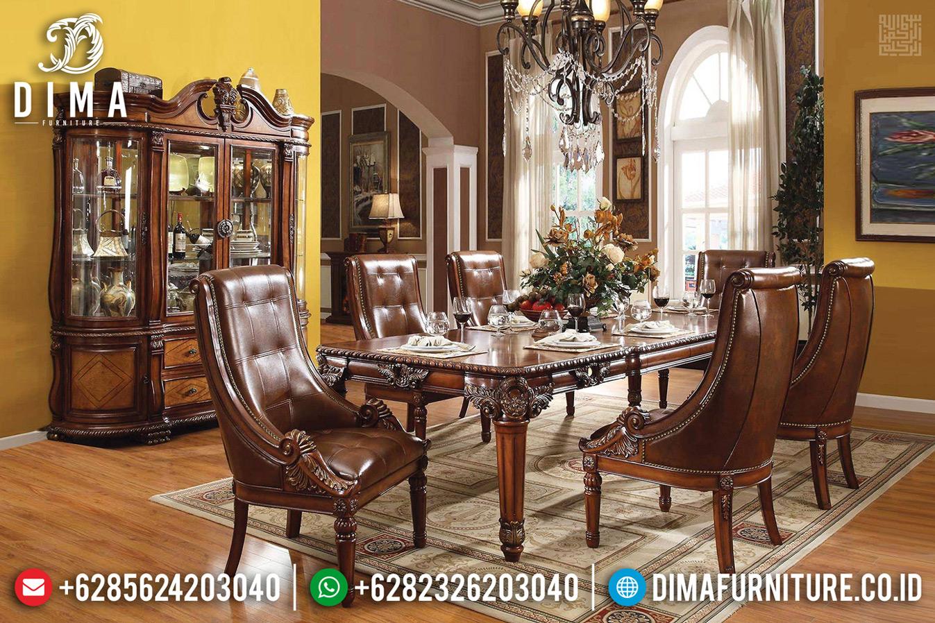 Set Meja Makan 6 Kursi Klasik Natural Jati Perhutani Furniture Jepara TTJ-0698