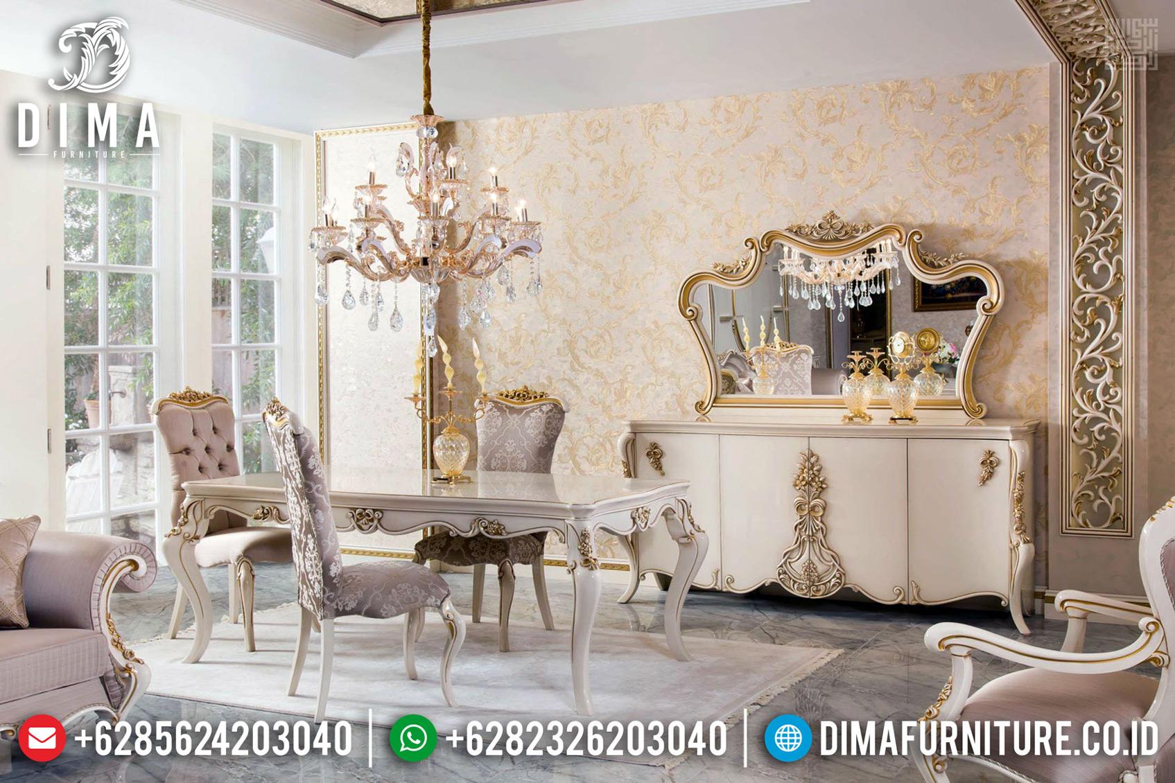 Set Meja Makan Mewah Ukiran Klasik Luxury New Duco Combine Golden Leaf TTJ-0737