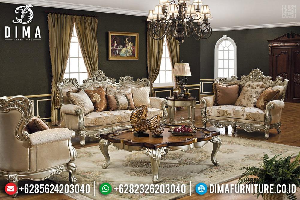 Set Sofa Tamu Mewah Jepara 3 2 1 New Ukiran Jepara Silver Coating Gloss TTJ-0665