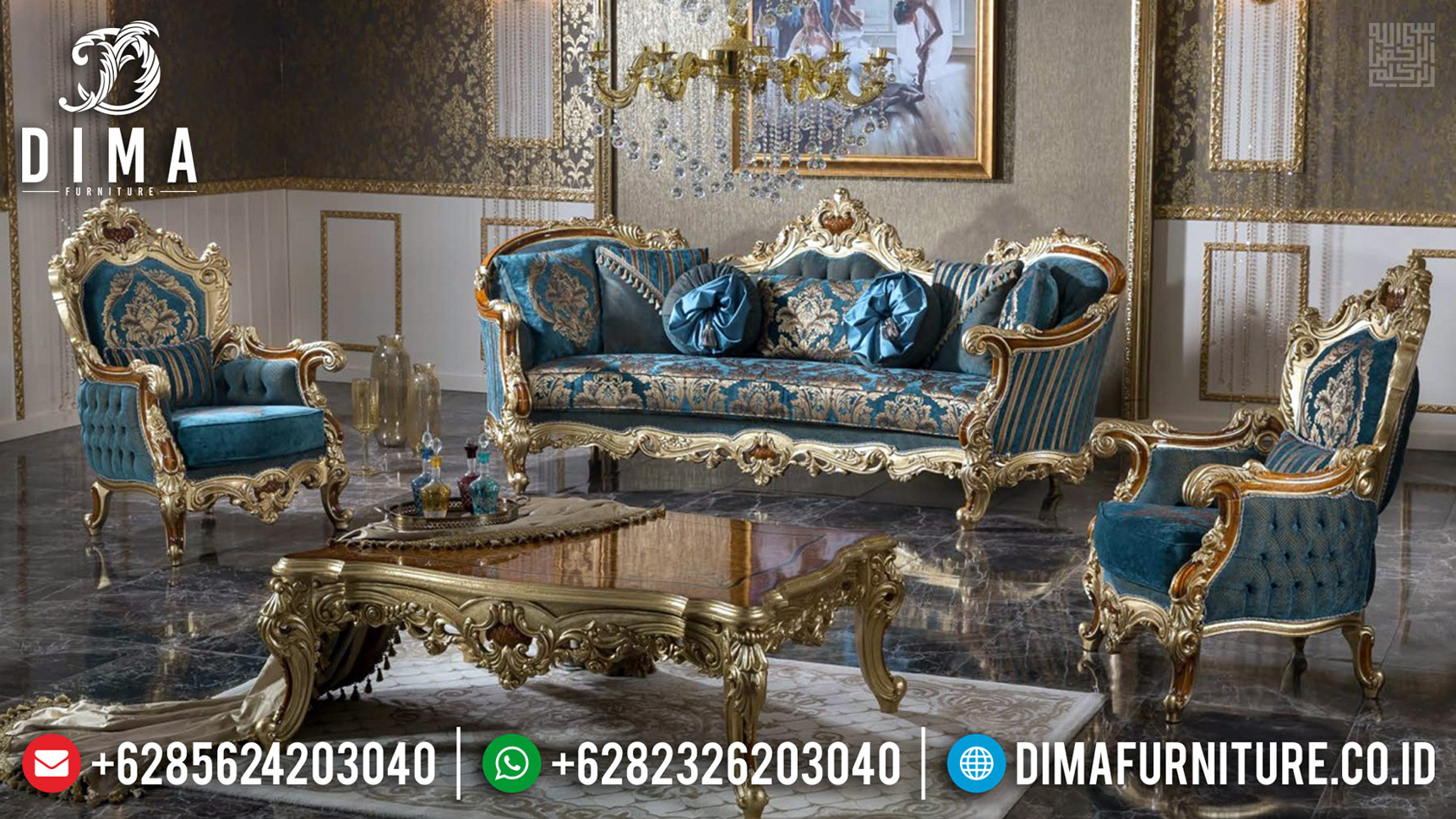 Set Sofa Tamu Mewah Klasik Luxury Ukiran Artistik Antique Furniture Jepara TTJ-0705