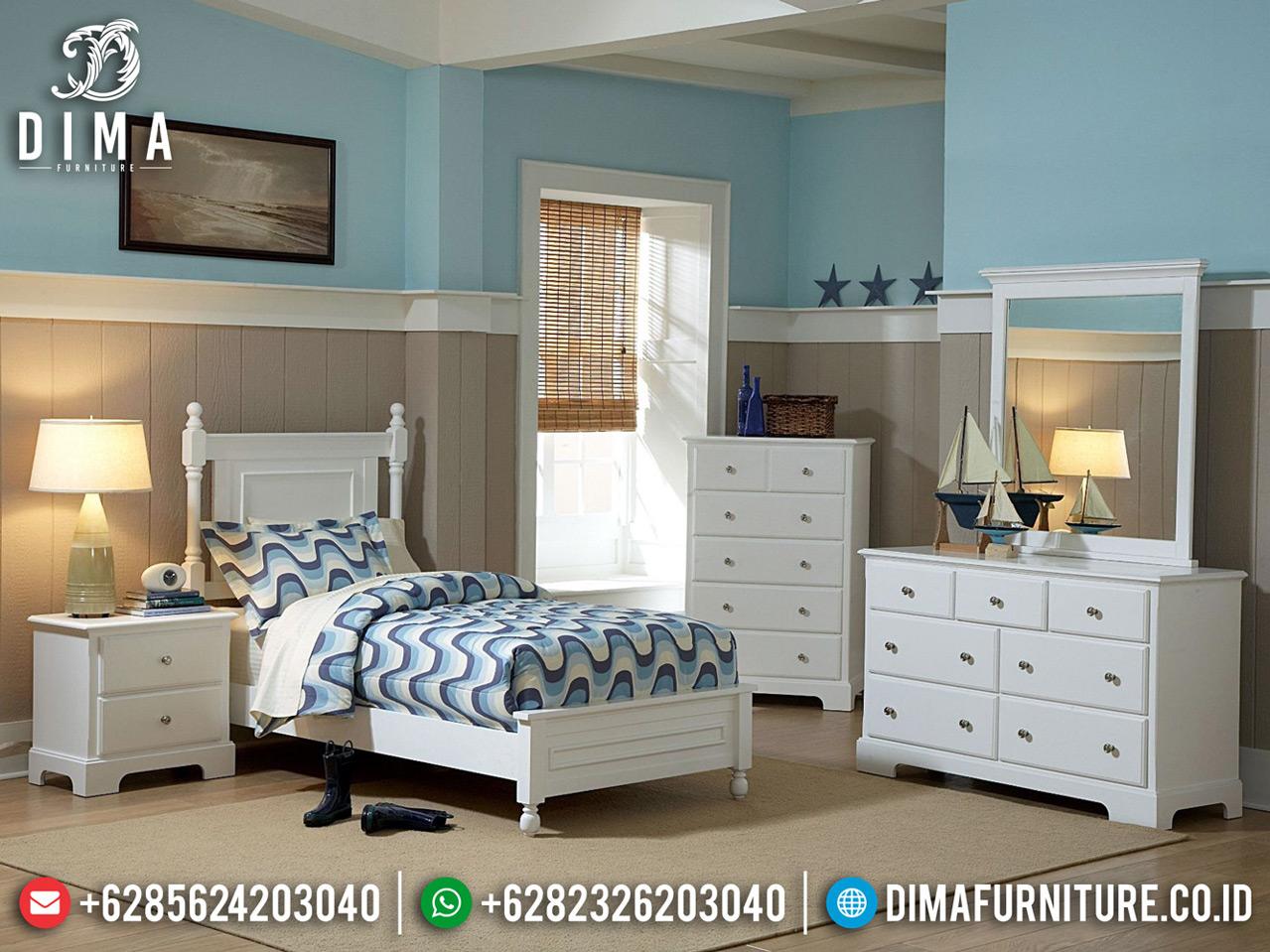 Tempat Tidur Anak Putih Duco New Style Terbaru Best Quality Kayu Perhutani TTJ-0764