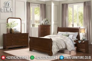 Tempat Tidur Minimalis Jati Queen Size Natural Salak Brown Color TTJ-0674
