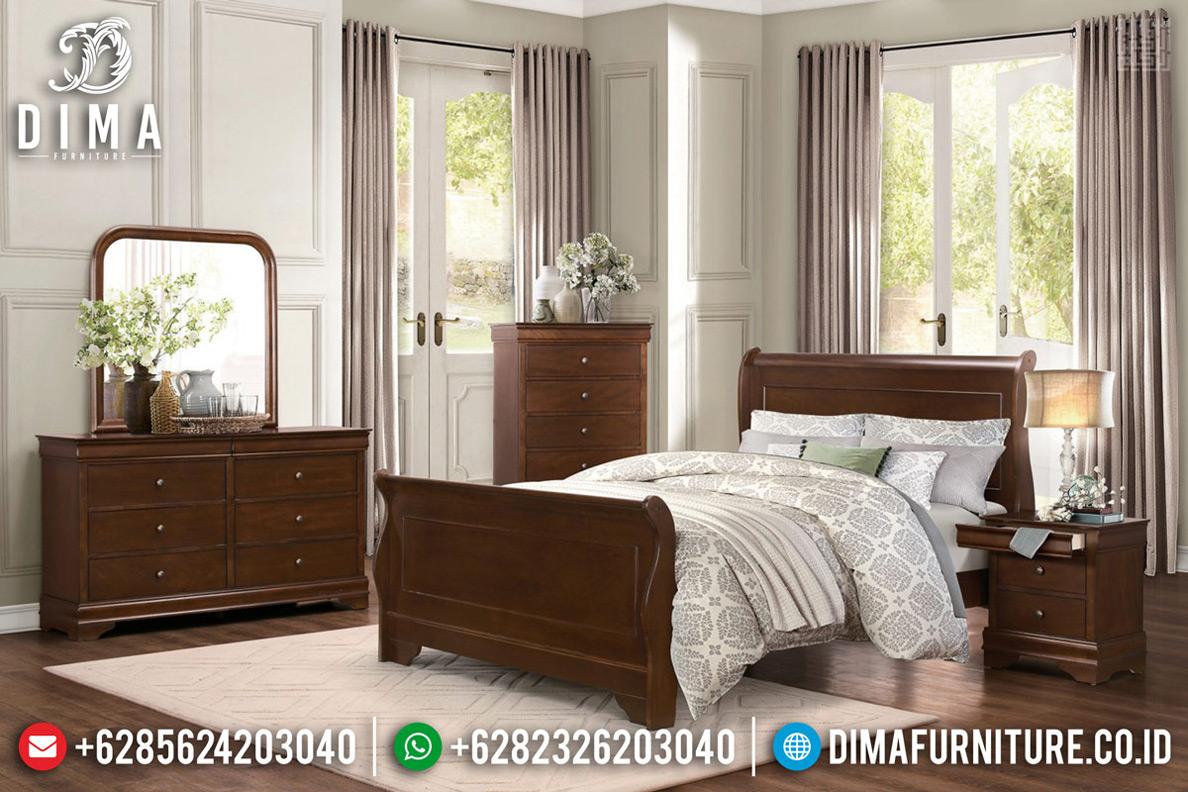 Tempat Tidur Minimalis Jati Queen Size Natural Salak Brown Color TTJ-0674