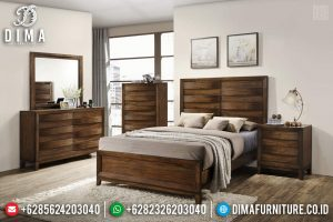 Tempat Tidur Minimalis Modern Natural Jati Perhutani Furniture Jepara TTJ-0673