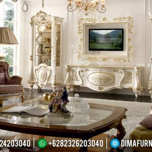 Classic Luxury Design Lemari Hias Kaca Mewah, New Meja TV Ukiran Khas Jepara TTJ-0798