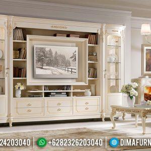 Desain Set Meja TV Mewah Dan Lemari Hias Kaca Ukiran Luxury Classic New White Duco TTJ-0799