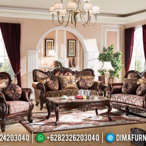 Desain Sofa Tamu Mewah Jati Natural New Emperial Rome Style TTJ-0839