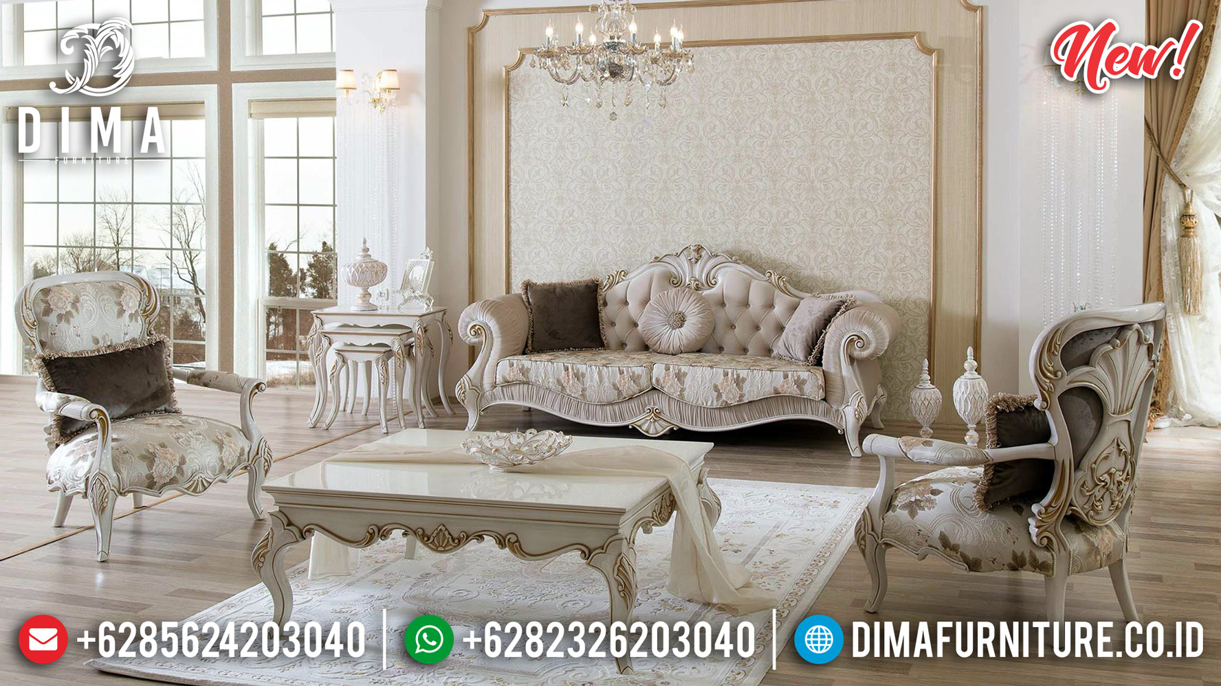 Free Ongkir Sofa Tamu Mewah Jepara Luxury Carving Jepara New Model Classic Furniture TTJ-0801