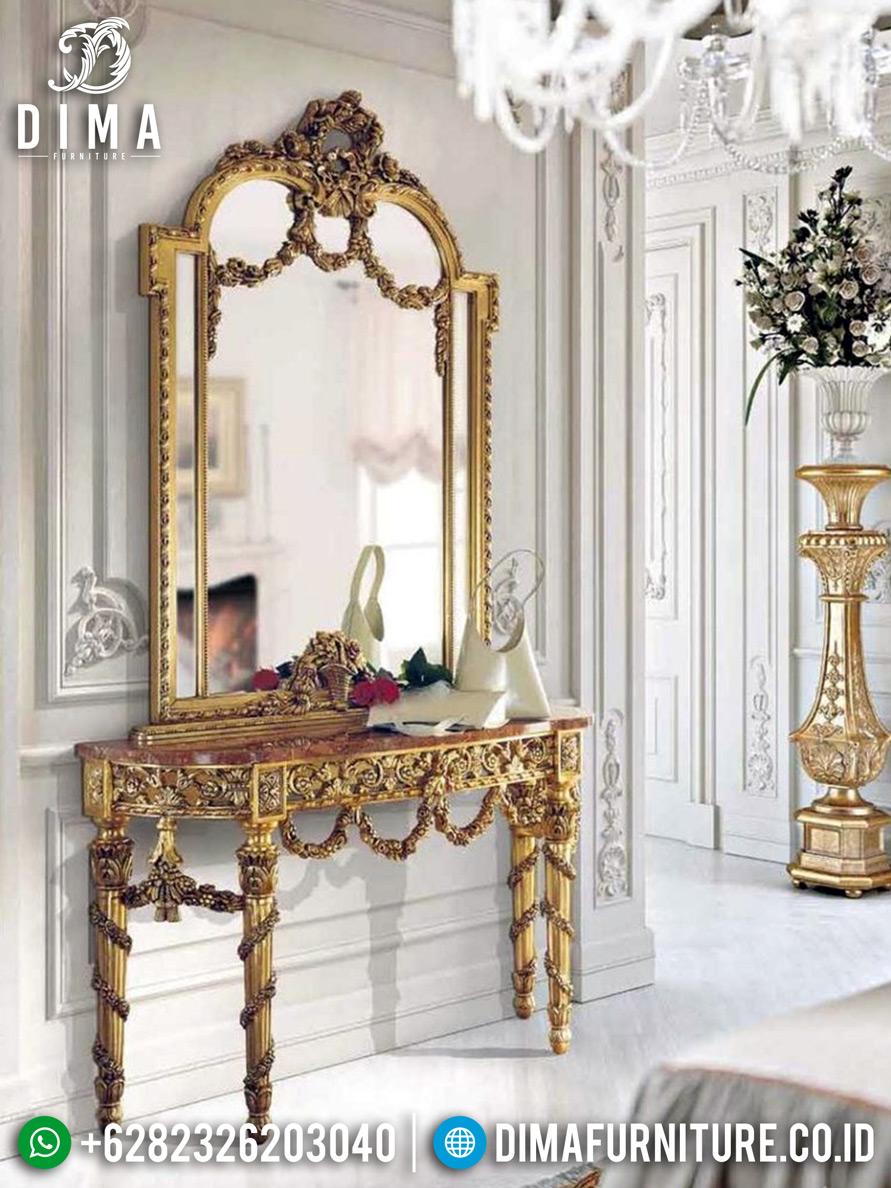 Harga Cermin Hias Mewah Set Meja Konsul Ukiran Luxury New Design Jepara TTJ-0778
