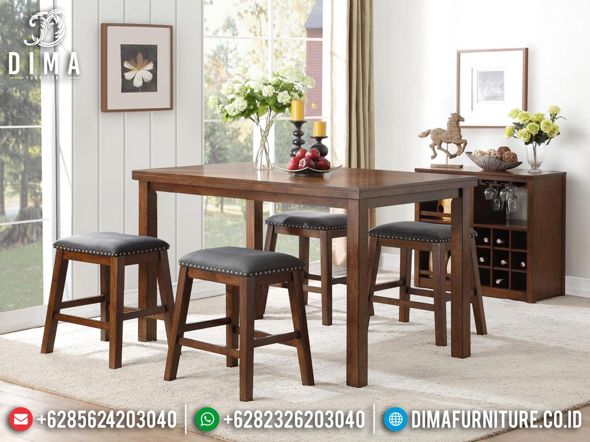 Harga Meja Makan Modern Minimalis Kayu Jati Natural New Elegant Design TTJ-0790