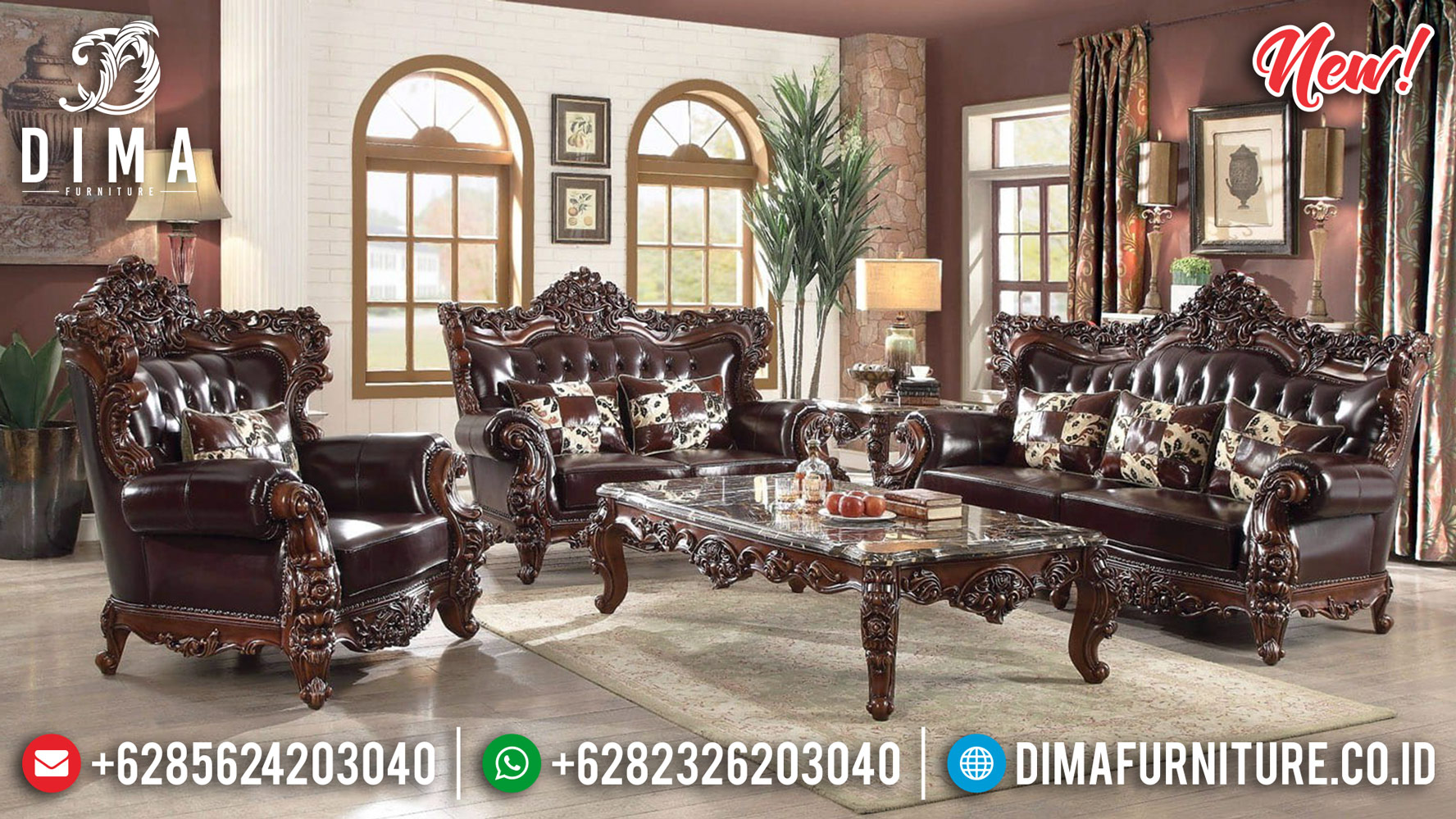 Italian Carving Sofa Tamu Mewah Jepara Luxury Furniture Big Sale TTJ-0804