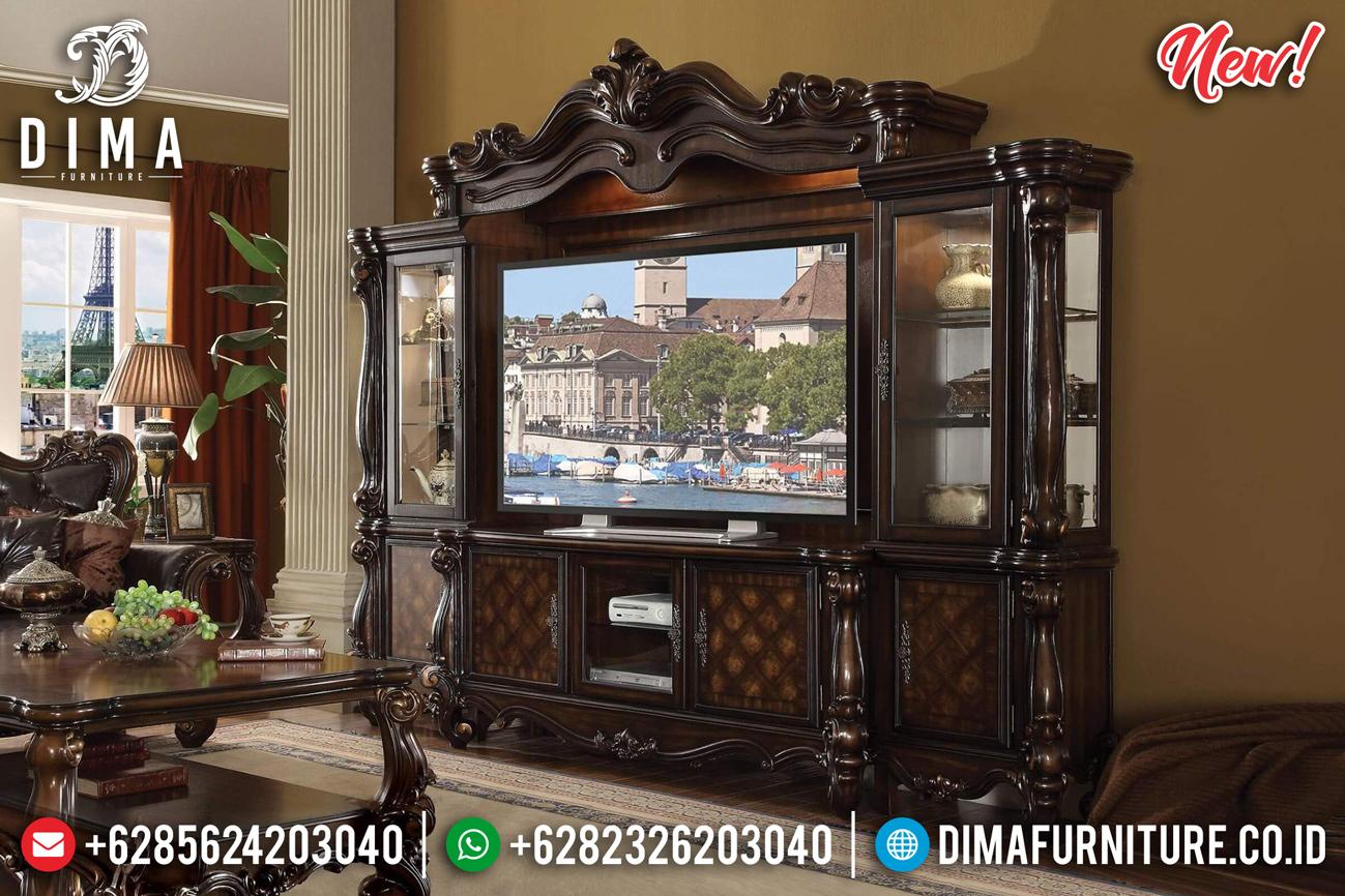 Jual Bufet TV Mewah Jati Natural Ukiran Luxury Royal Classic Jepara TTJ-0845 Desain 1