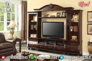 Jual Bufet TV Mewah Ukiran Jepara Luxury Classic Natural Jati Perhutani TTJ-0793