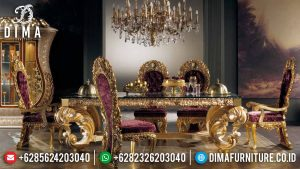 Jual Meja Makan Mewah Luxury Carving Golden Leaf Glossy New Design Emperial TTJ-0774