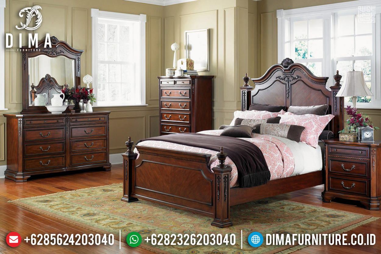 Kamar Set Minimalis Jati Natural, Dipan Ranjang Classic Luxury Furniture Jepara TTJ-0781