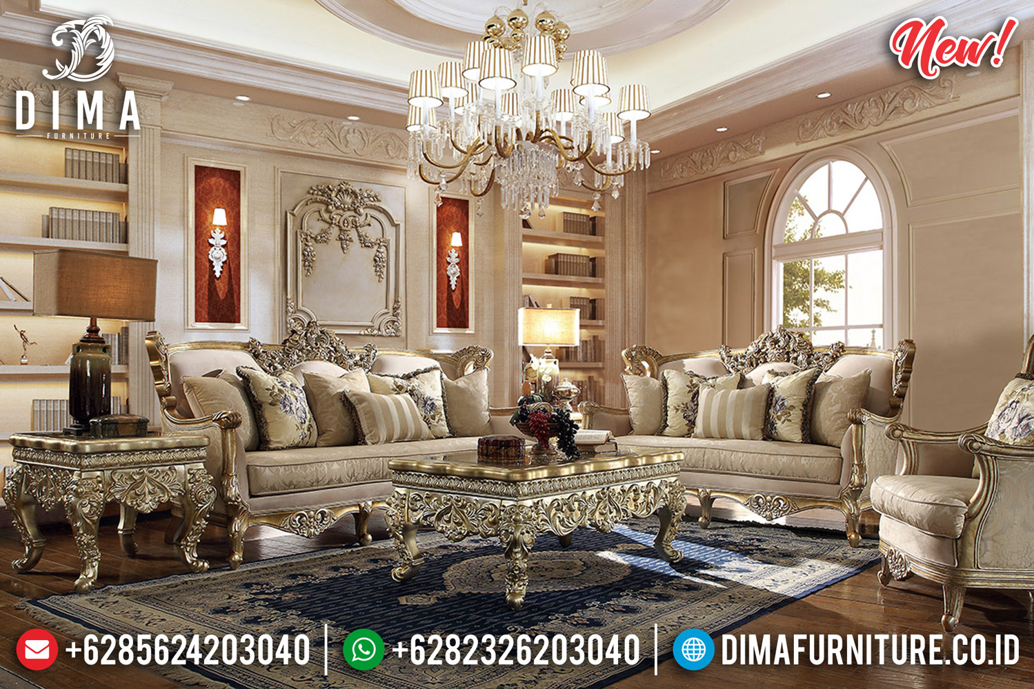 Majestic Room Sofa Tamu Mewah Jepara Luxury Carving New Golden Shining TTJ-0808