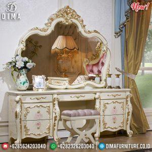 Meja Rias Ukir Jepara Luxury Classic Glamorous Motif Golden Relief TTJ-0825