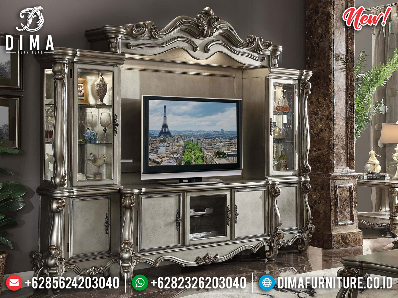 New Model Bufet TV Mewah Luxury Classic Furniture Jepara Terbaru TTJ-0847 Model 1