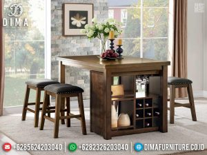 New Model Meja Makan Jati Minimalis Natural Desain Interior Minibar TTJ-0792