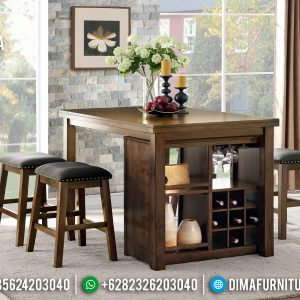 New Model Meja Makan Jati Minimalis Natural Desain Interior Minibar TTJ-0792