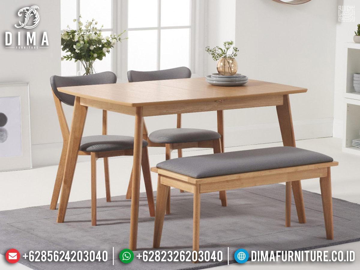 New Set Meja Makan Minimalis Jati Natural Modern Desain Terlaris TTJ-0789