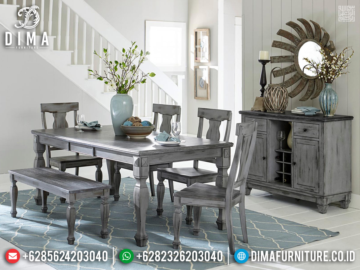 Set Meja Makan Minimalis New Rustic Style French Furniture Luxury TTJ-0791