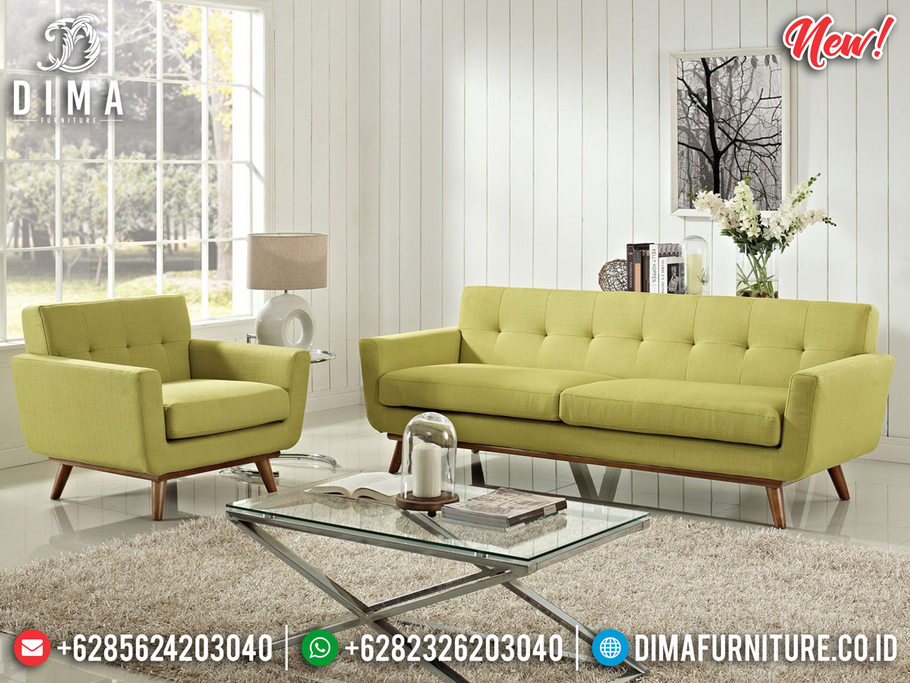 Set Sofa Tamu Minimalis Natural Kayu Jati Perhutani Best Seller TTJ-0841