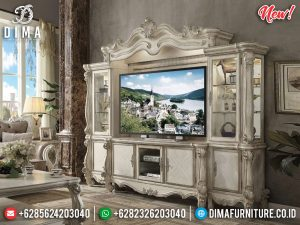 Bufet TV Mewah Ukiran Putih Duco New Model Royals Mebel Jepara TTJ-0973