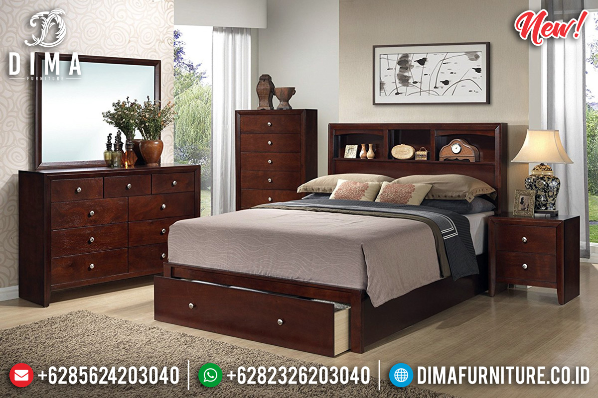 Desain Kamar Set Minimalis Jati Natural Rose Wood Color Elegant Style TTJ-0922
