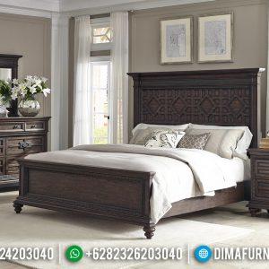 Elegant Style Tempat Tidur Minimalis Jati Natuaral Klasik Solid Wood TTJ-0923
